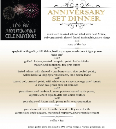 32 Mansion Anniversary Set Dinner