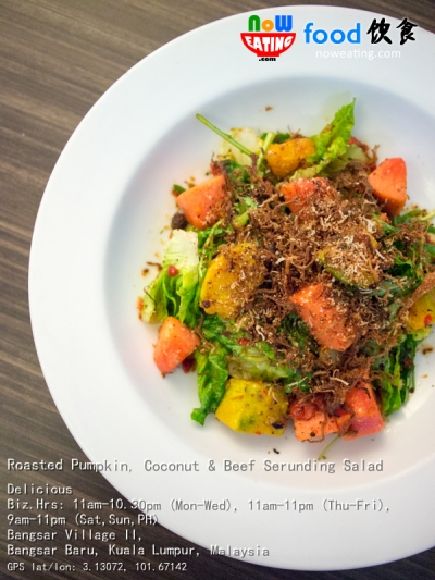 Roasted Pumpkin, Coconut & Beef Serunding Salad