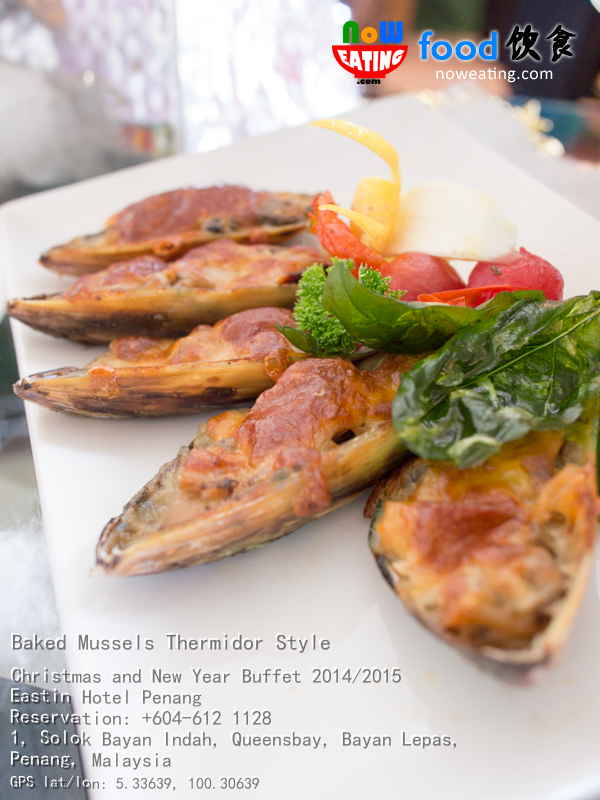 ... the main course, we were served with Baked Mussels Thermidor Style