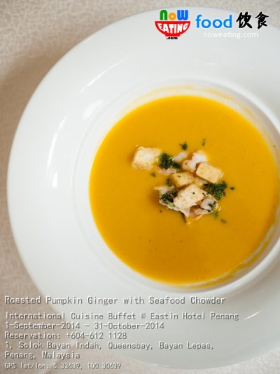 Roasted Pumpkin Ginger with Seafood Chowder
