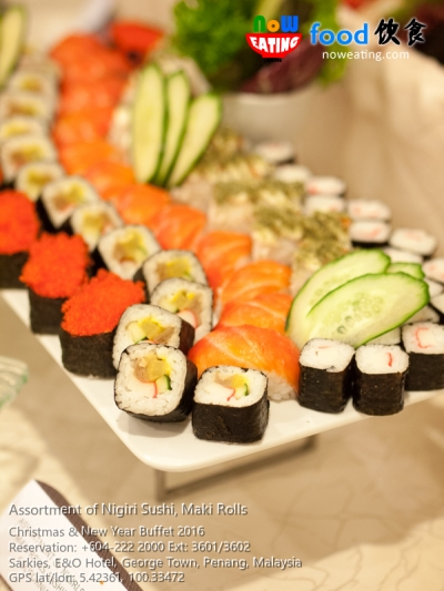 Assortment of Nigiri Sushi, Maki Rolls