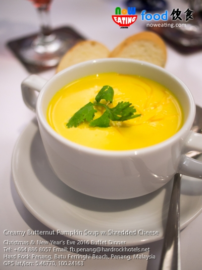 Creamy Butternut Pumpkin Soup w. Shredded Cheese
