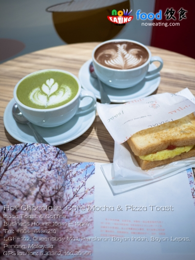 Hot Chocolate, Cafe Mocha & Pizza Toast