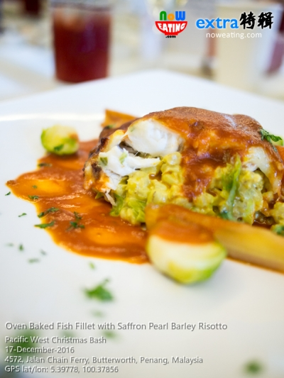 Oven Baked Fish Fillet with Saffron Pearl Barley Risotto