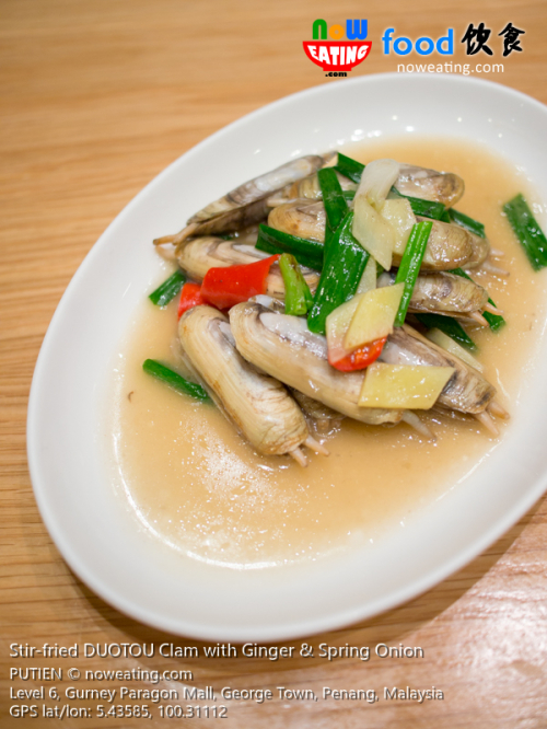 Stir-fried DUOTOU Clam with Ginger & Spring Onion