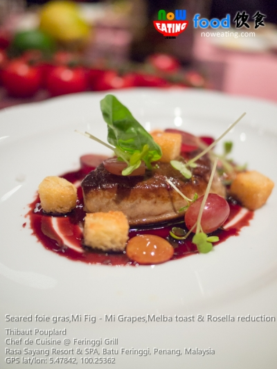 Seared foie gras,Mi Fig - Mi Grapes,Melba toast & Rosella reduction
